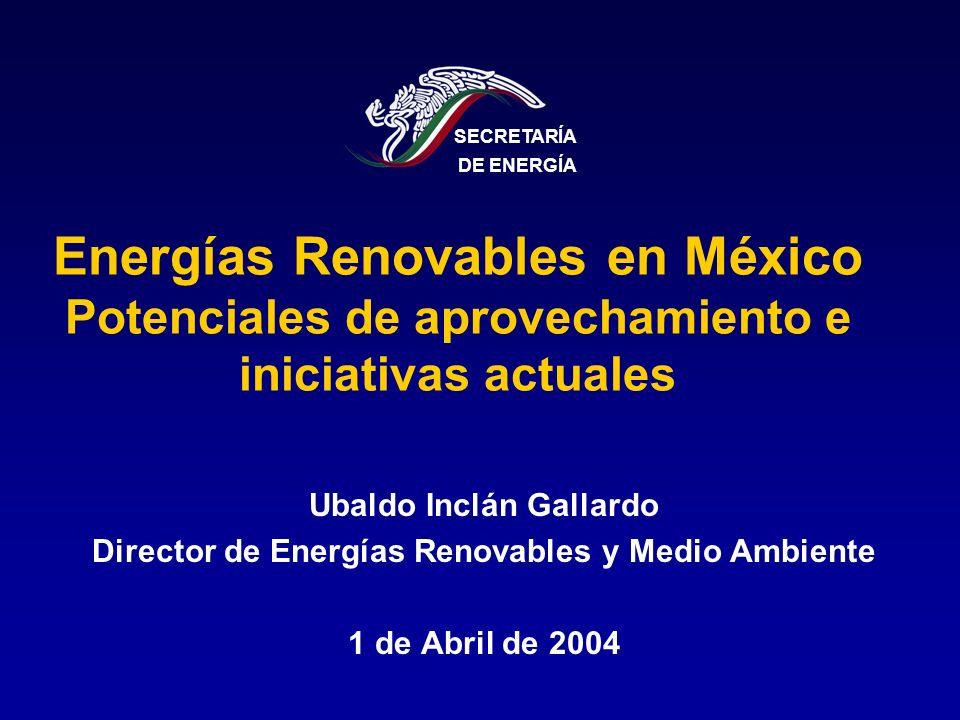 Energías Renovables en México Potenciales de aprovechamiento e iniciativas actuales Ubaldo Inclán Gallardo Director de Energías Renovables y Medio Amb