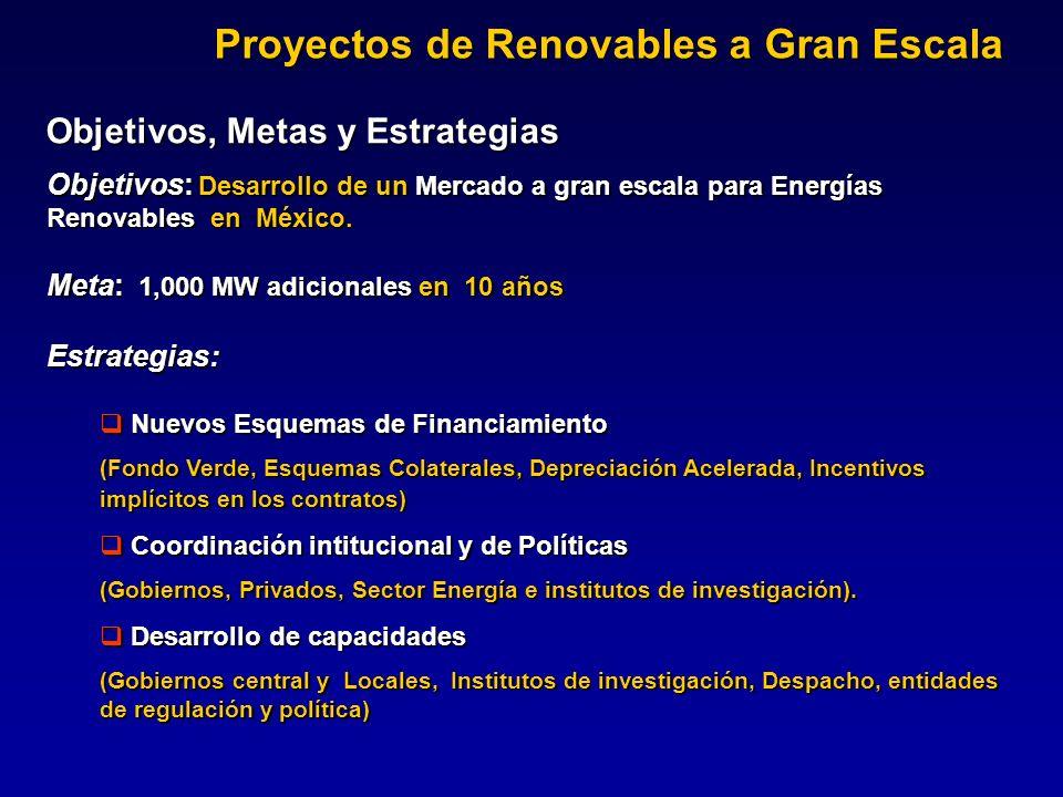 Objetivos, Metas y Estrategias Objetivos: Desarrollo de un Mercado a gran escala para Energías Renovables en México. Meta: 1,000 MW adicionales en 10