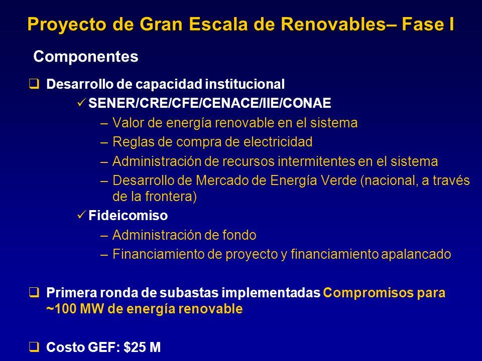 Componentes Desarrollo de capacidad institucional SENER/CRE/CFE/CENACE/IIE/CONAE –Valor de energía renovable en el sistema –Reglas de compra de electr