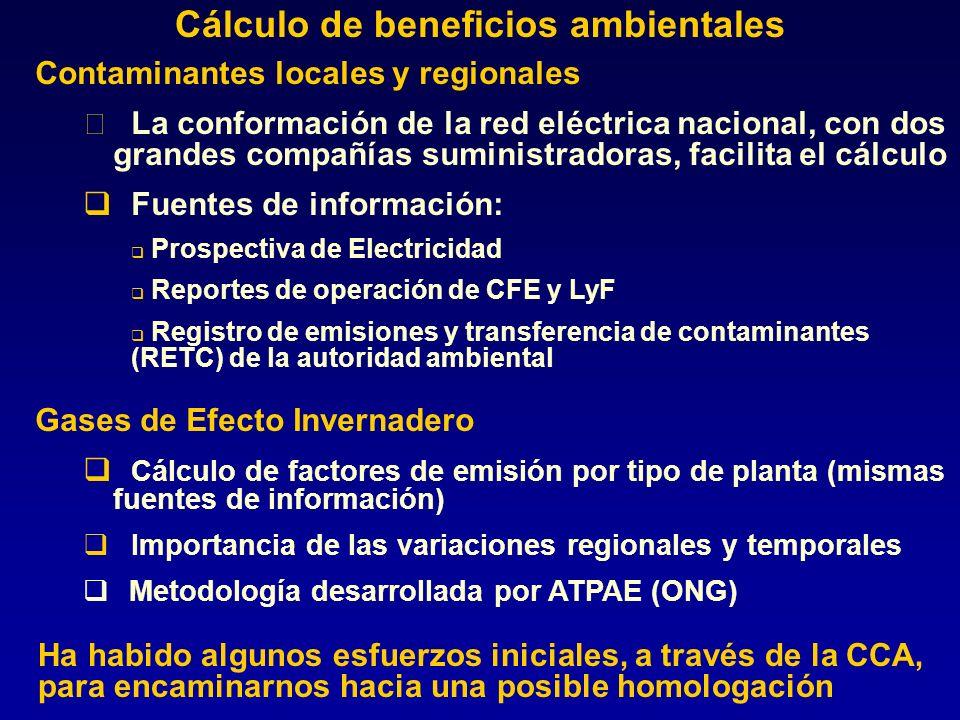 Contaminantes locales y regionales La conformación de la red eléctrica nacional, con dos grandes compañías suministradoras, facilita el cálculo Fuent