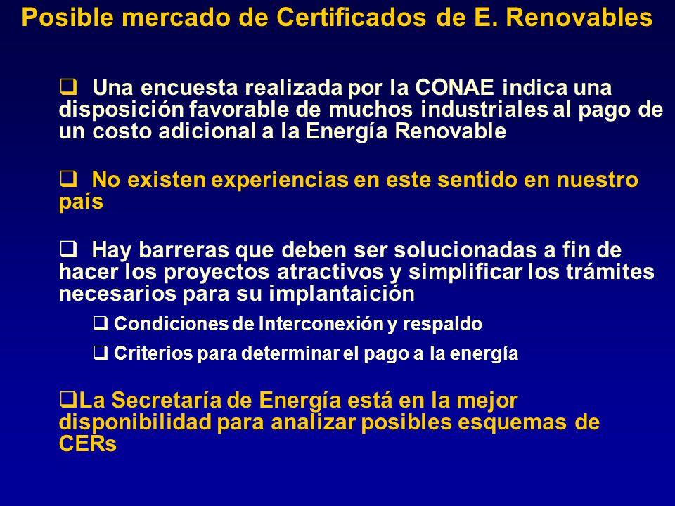 Una encuesta realizada por la CONAE indica una disposición favorable de muchos industriales al pago de un costo adicional a la Energía Renovable No ex