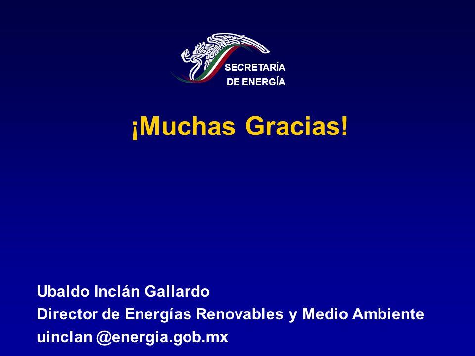¡Muchas Gracias! Ubaldo Inclán Gallardo Director de Energías Renovables y Medio Ambiente uinclan @energia.gob.mx SECRETARÍA DE ENERGÍA