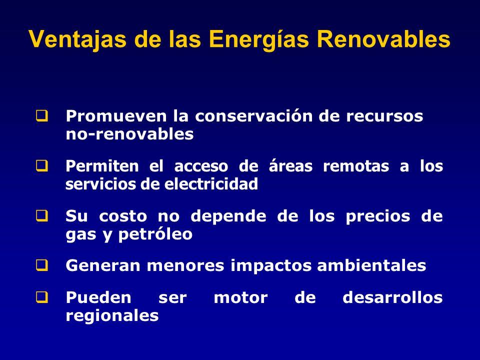 Ventajas de las Energías Renovables Promueven la conservación de recursos no-renovables Permiten el acceso de áreas remotas a los servicios de electri
