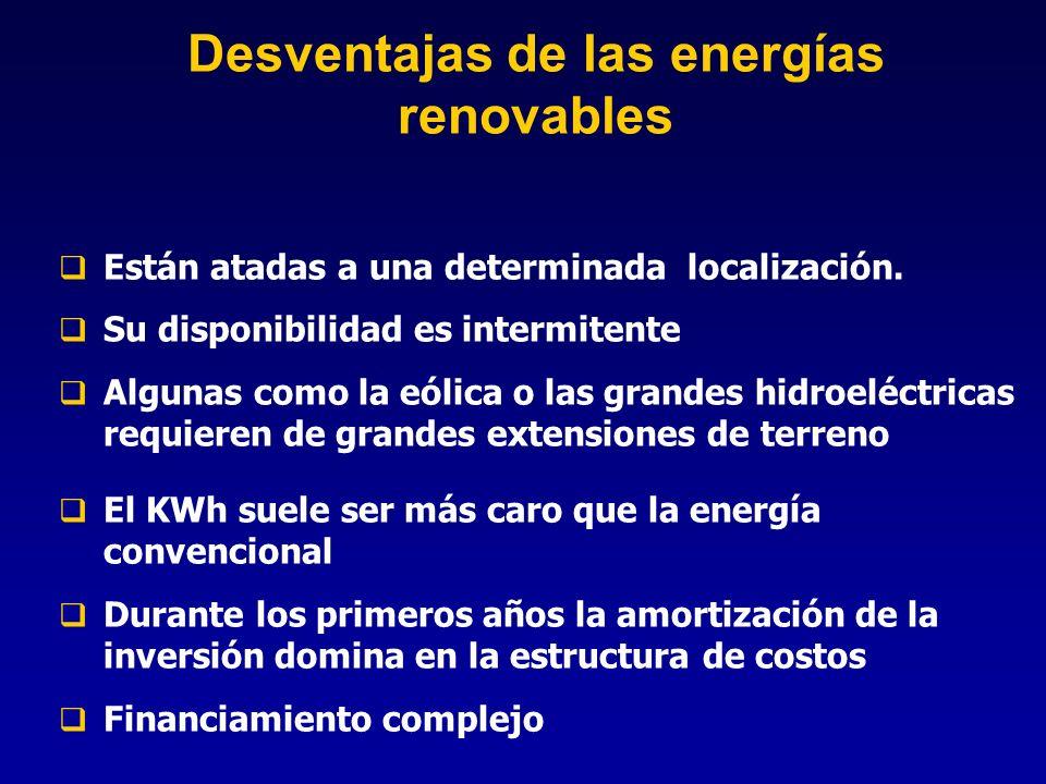 Desventajas de las energías renovables Están atadas a una determinada localización. Su disponibilidad es intermitente Algunas como la eólica o las gra