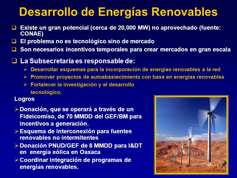 Desarrollo de Energías Renovables Existe un gran potencial (cerca de 20,000 MW) no aprovechado (fuente: CONAE) El problema no es tecnológico sino de m