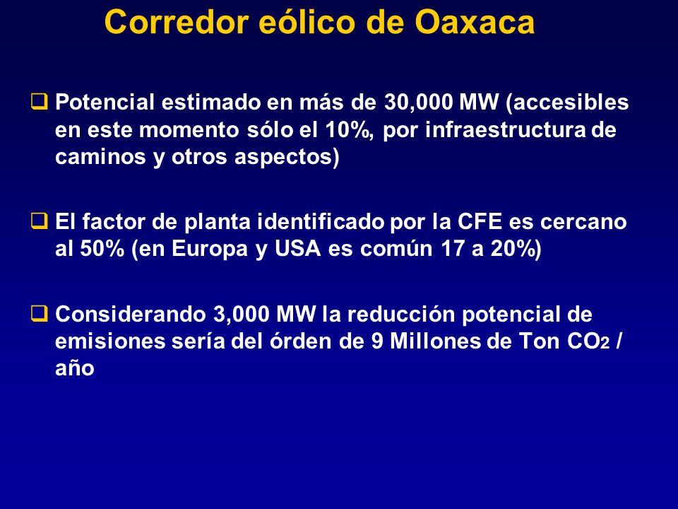 Corredor eólico de Oaxaca Potencial estimado en más de 30,000 MW (accesibles en este momento sólo el 10%, por infraestructura de caminos y otros aspec