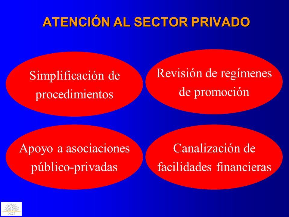 MEF ATENCIÓN AL SECTOR PRIVADO Simplificación de procedimientos Revisión de regímenes de promoción Apoyo a asociaciones público-privadas Canalización