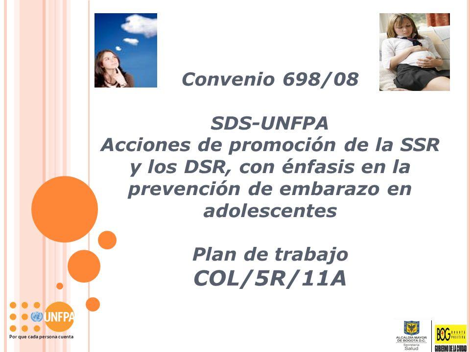 Convenio 698/08 SDS-UNFPA Acciones de promoción de la SSR y los DSR, con énfasis en la prevención de embarazo en adolescentes Plan de trabajo COL/5R/1