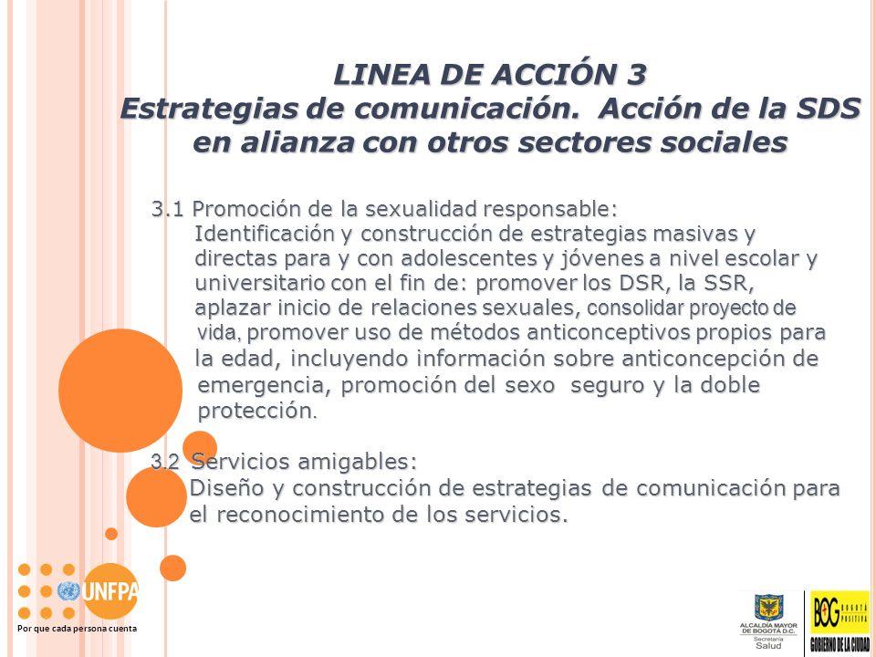 Por que cada persona cuenta LINEA DE ACCIÓN 3 Estrategias de comunicación. Acción de la SDS en alianza con otros sectores sociales 3.1 Promoción de la