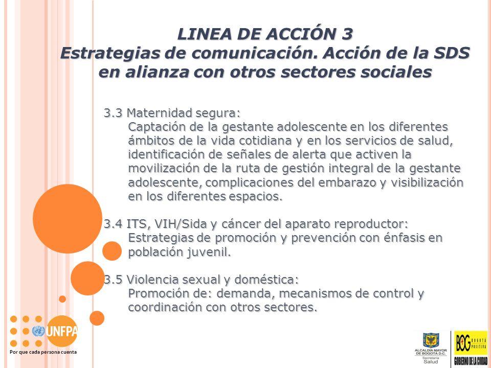 Por que cada persona cuenta LINEA DE ACCIÓN 3 Estrategias de comunicación. Acción de la SDS en alianza con otros sectores sociales 3.3 Maternidad segu