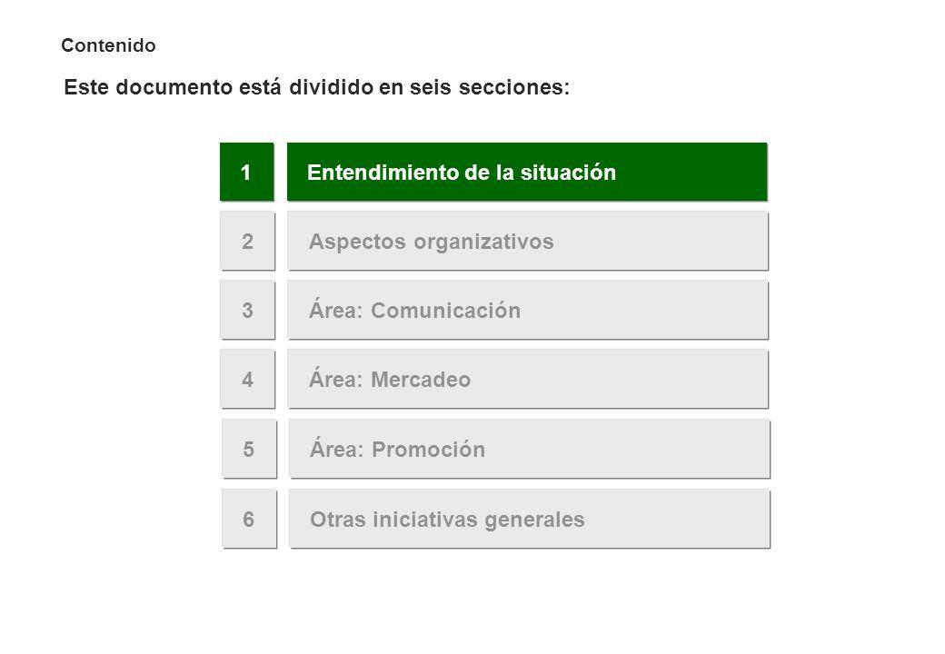 Contenido Este documento está dividido en seis secciones: Área: Mercadeo4 Entendimiento de la situación1 Área: Promoción5 Aspectos organizativos2 Área
