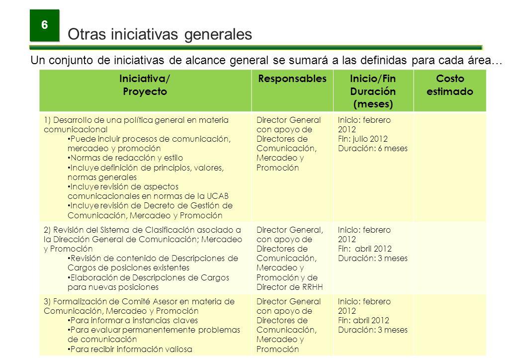 6 Un conjunto de iniciativas de alcance general se sumará a las definidas para cada área… Iniciativa/ Proyecto ResponsablesInicio/Fin Duración (meses)