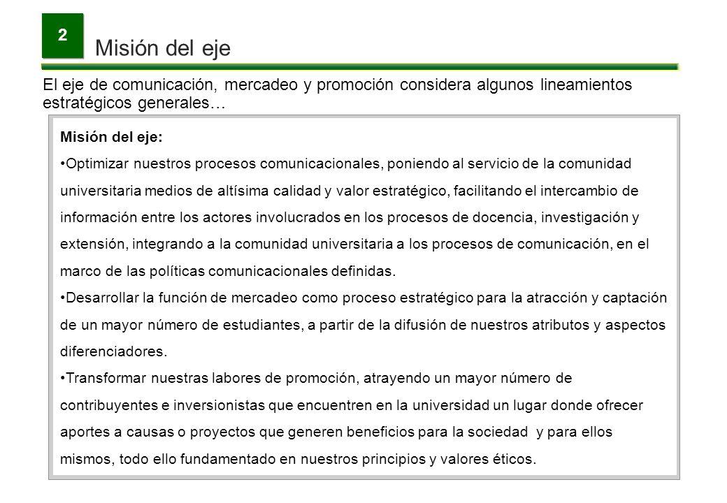 Misión del eje 2 El eje de comunicación, mercadeo y promoción considera algunos lineamientos estratégicos generales… Misión del eje: Optimizar nuestro