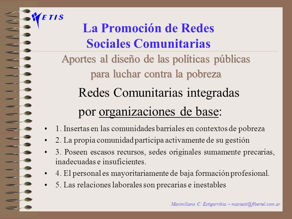 Condiciones para la construcción de una RED Factores estructurales Motivación individual de los sujetos Necesidades compartidas Sistema de reclutamiento Grupo gestor/promotor Maximiliano C.