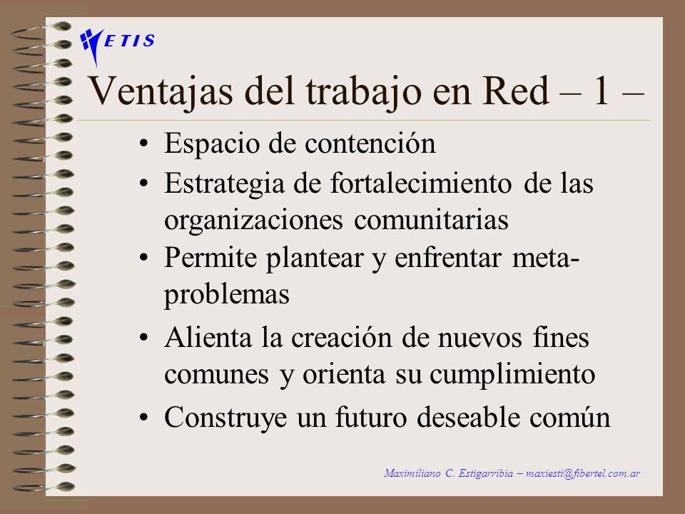 El proceso natural de una RED 3. Etapa de Gestión Actividades comunes Proyectos comunes Recursos comunes ACCION Maximiliano C. Estigarribia – maxiesti