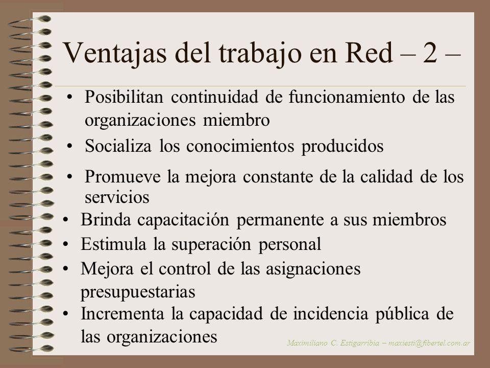 Ventajas del trabajo en Red – 1 – Espacio de contención Estrategia de fortalecimiento de las organizaciones comunitarias Permite plantear y enfrentar