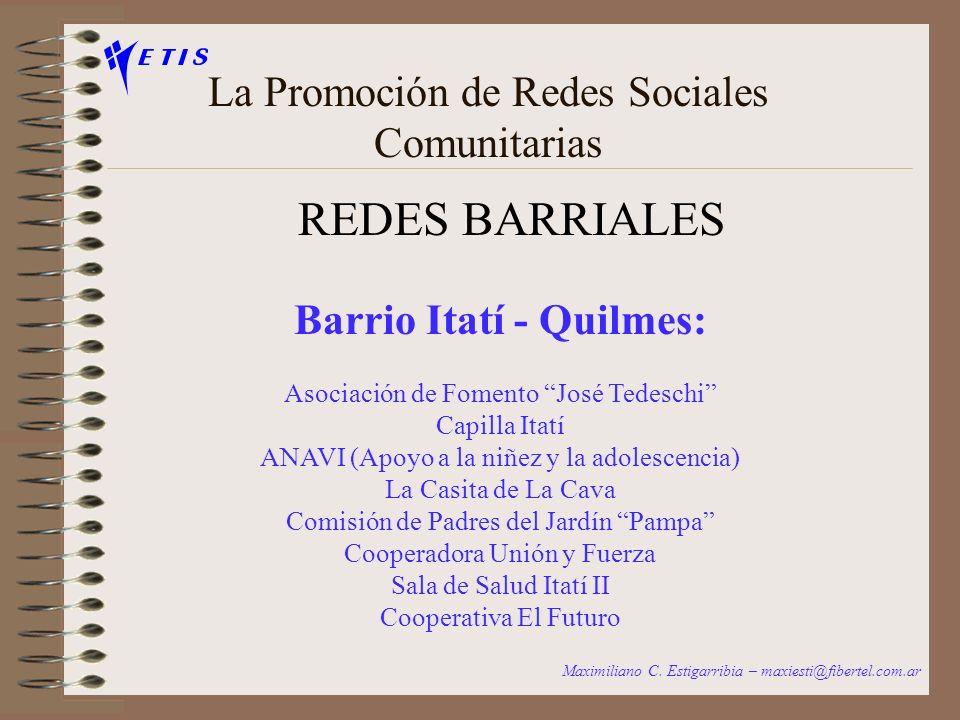 La Promoción de Redes Sociales Comunitarias REDES TEMATICAS Redes de organizaciones con servicios comunes en diferentes territorios Maximiliano C.