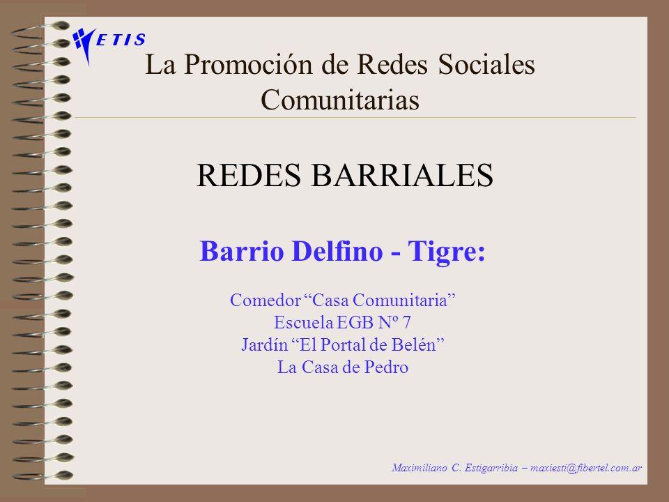 La Promoción de Redes Sociales Comunitarias REDES BARRIALES Maximiliano C. Estigarribia – maxiesti@fibertel.com.ar Barrio Itatí - Quilmes: Asociación