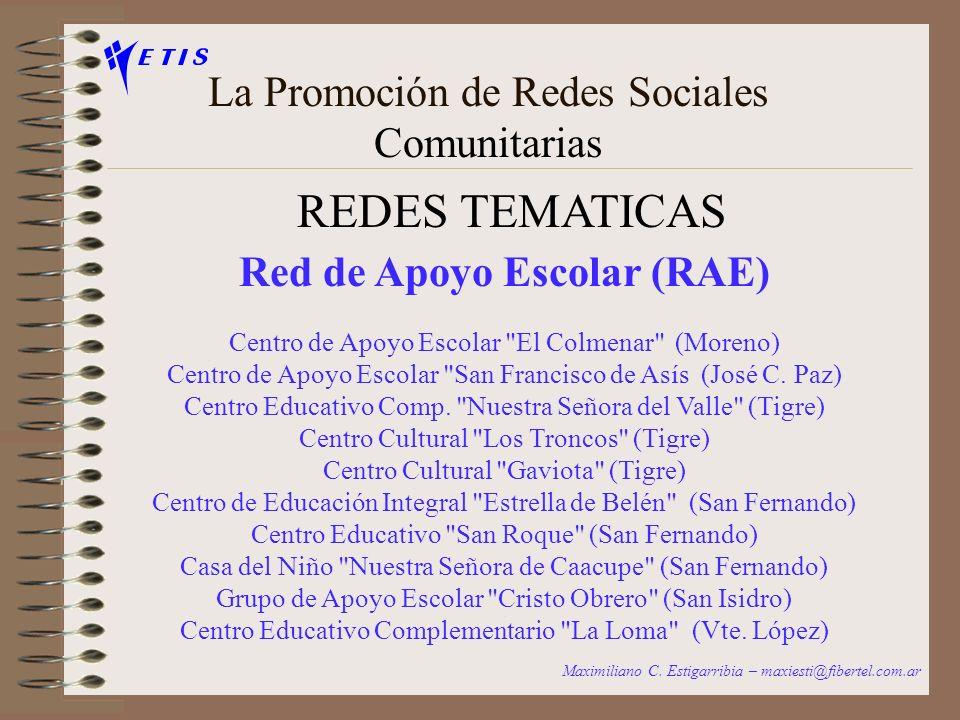 La Promoción de Redes Sociales Comunitarias REDES BARRIALES Maximiliano C. Estigarribia – maxiesti@fibertel.com.ar Barrio Sívori – Vte. López: Centro