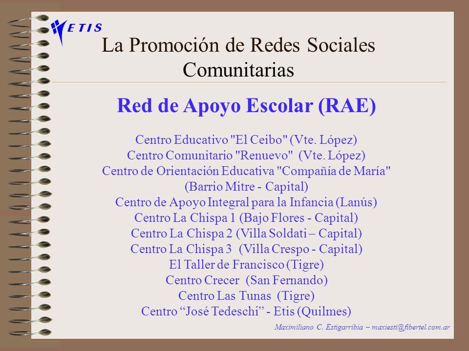 La Promoción de Redes Sociales Comunitarias REDES TEMATICAS Maximiliano C. Estigarribia – maxiesti@fibertel.com.ar Red de Apoyo Escolar (RAE) Centro d