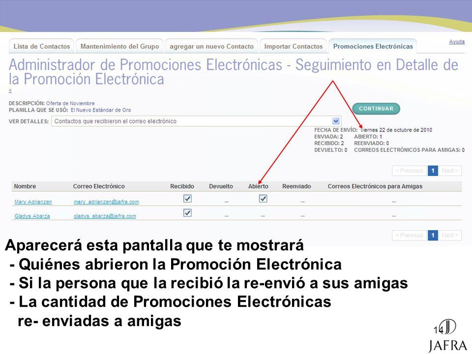 14 Aparecerá esta pantalla que te mostrará - Quiénes abrieron la Promoción Electrónica - Si la persona que la recibió la re-envió a sus amigas - La ca