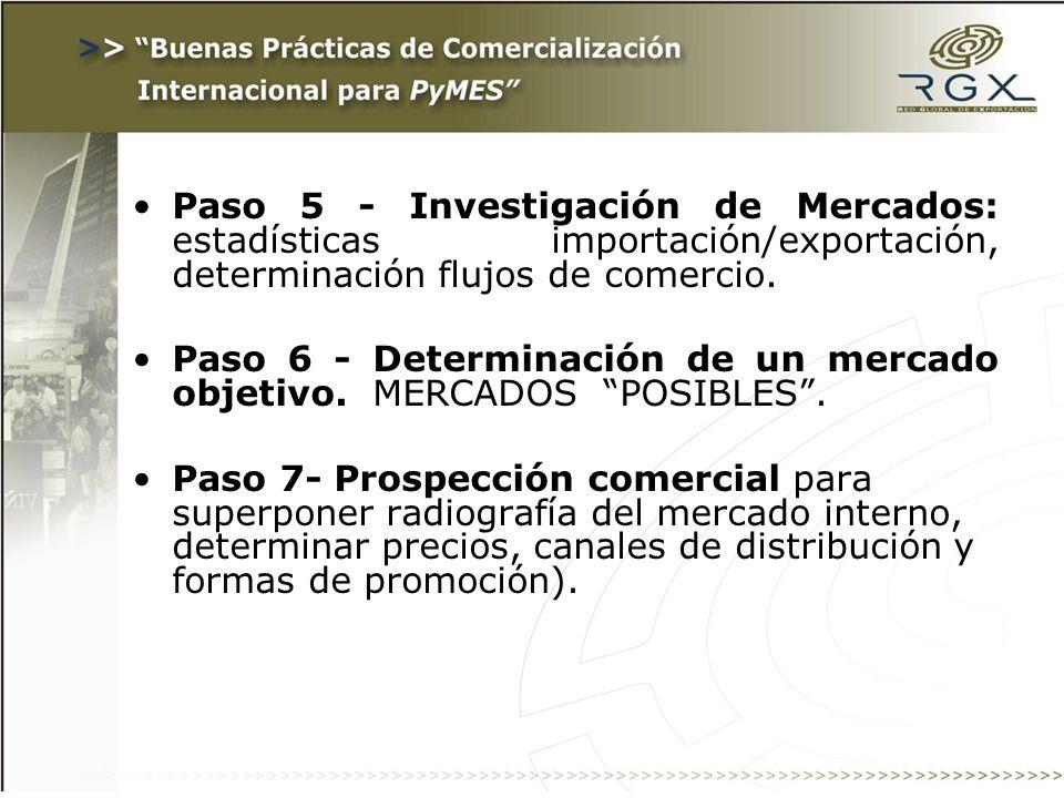 Paso 5 - Investigación de Mercados: estadísticas importación/exportación, determinación flujos de comercio. Paso 6 - Determinación de un mercado objet