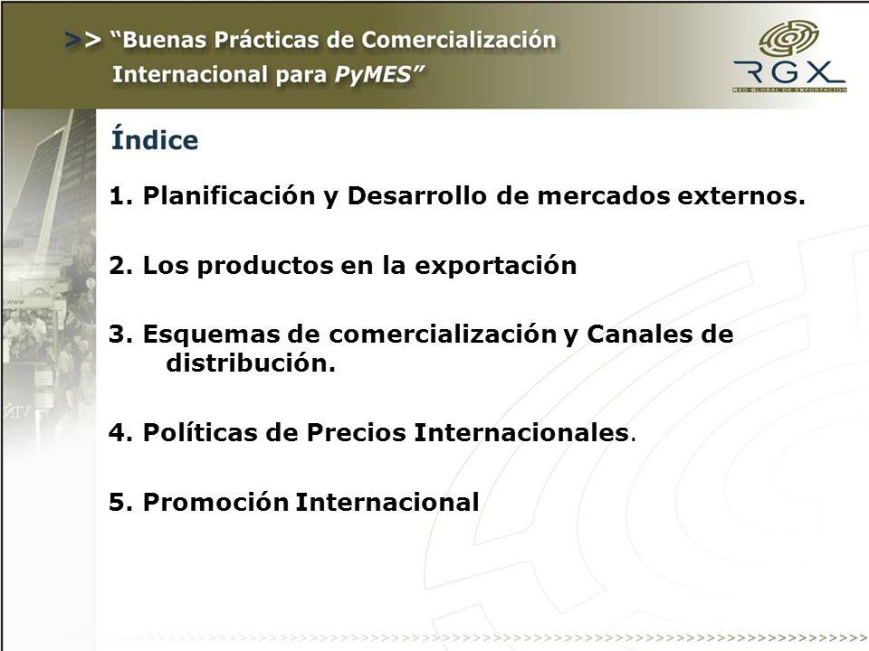 1. Planificación y Desarrollo de mercados externos. 2. Los productos en la exportación 3. Esquemas de comercialización y Canales de distribución. 4. P