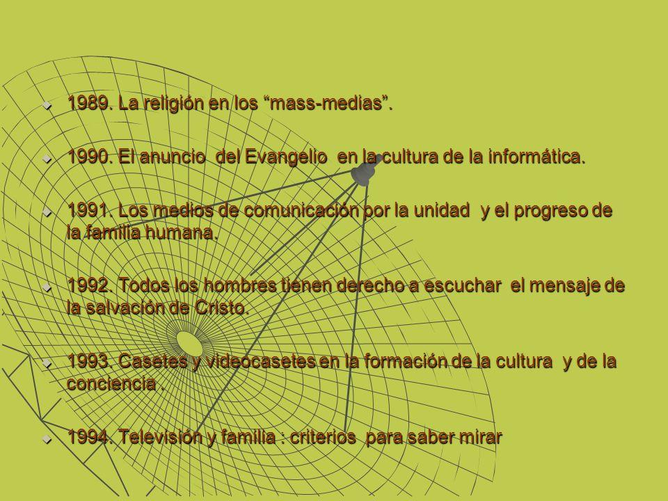 1989. La religión en los mass-medias. 1989. La religión en los mass-medias. 1990. El anuncio del Evangelio en la cultura de la informática. 1990. El a