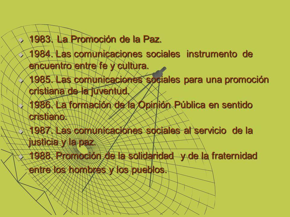 1983. La Promoción de la Paz. 1983. La Promoción de la Paz. 1984. Las comunicaciones sociales instrumento de encuentro entre fe y cultura. 1984. Las c