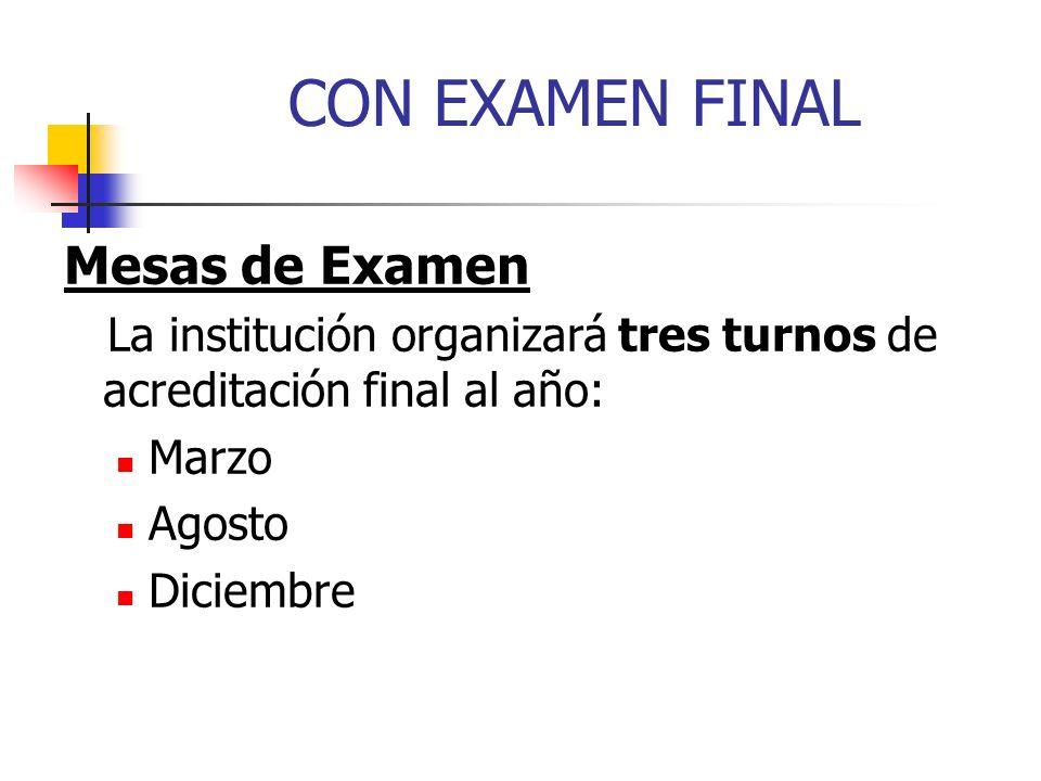 CON EXAMEN FINAL Mesas de Examen La institución organizará tres turnos de acreditación final al año: Marzo Agosto Diciembre