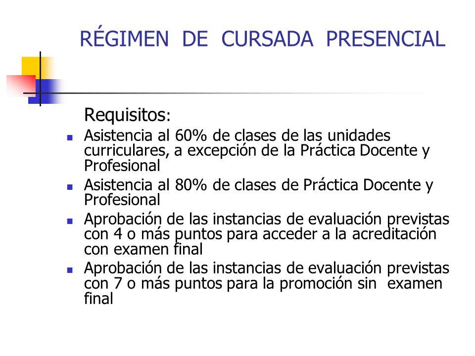 RÉGIMEN DE CURSADA PRESENCIAL Requisitos : Asistencia al 60% de clases de las unidades curriculares, a excepción de la Práctica Docente y Profesional Asistencia al 80% de clases de Práctica Docente y Profesional Aprobación de las instancias de evaluación previstas con 4 o más puntos para acceder a la acreditación con examen final Aprobación de las instancias de evaluación previstas con 7 o más puntos para la promoción sin examen final