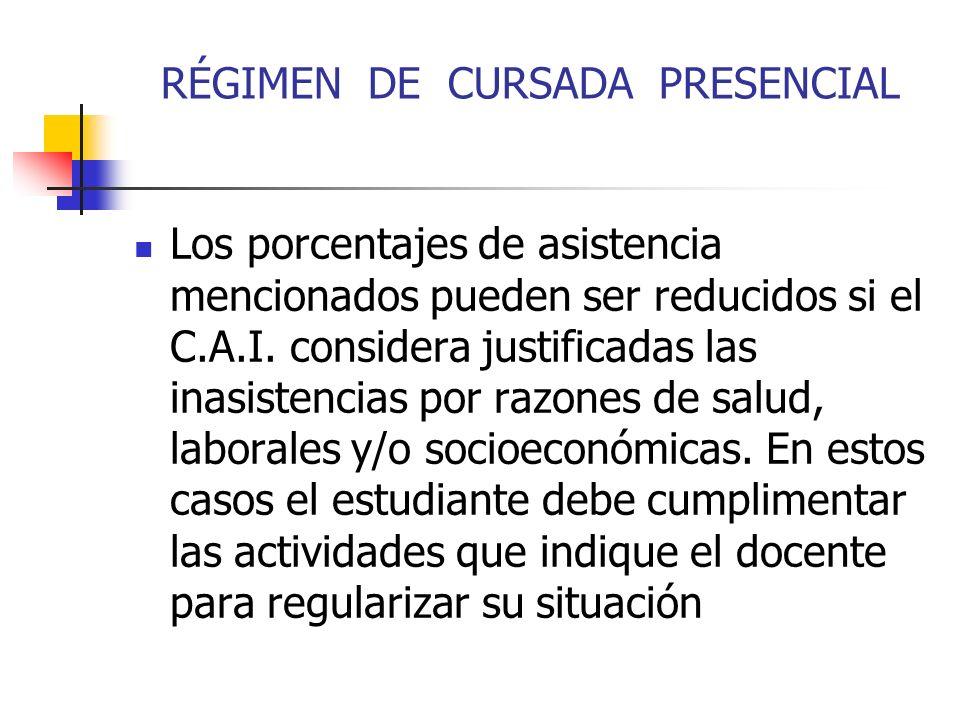 RÉGIMEN DE CURSADA PRESENCIAL Los porcentajes de asistencia mencionados pueden ser reducidos si el C.A.I.
