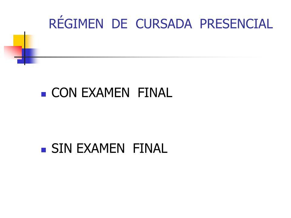 RÉGIMEN DE CURSADA PRESENCIAL CON EXAMEN FINAL SIN EXAMEN FINAL