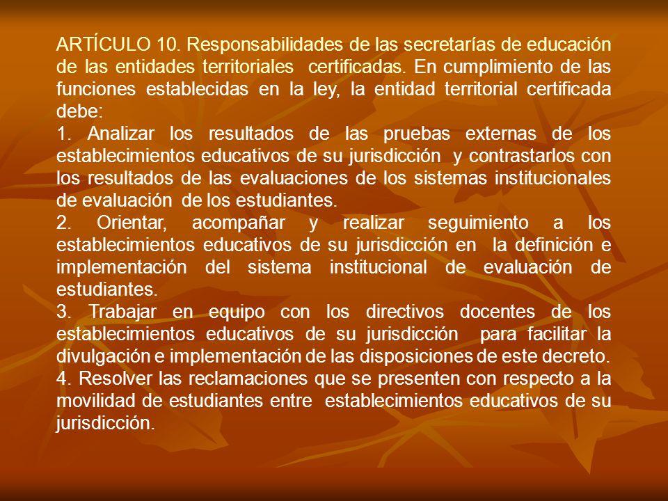 ARTÍCULO 10. Responsabilidades de las secretarías de educación de las entidades territoriales certificadas. En cumplimiento de las funciones estableci