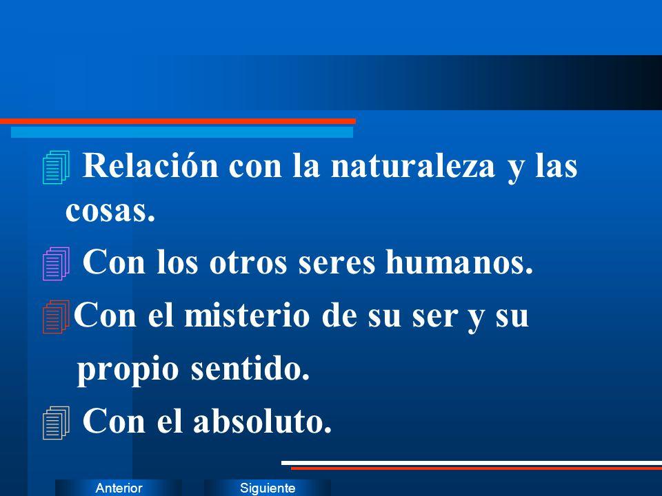SiguienteAnterior 4 Relación con la naturaleza y las cosas. 4 Con los otros seres humanos. 4Con el misterio de su ser y su propio sentido. 4 Con el ab