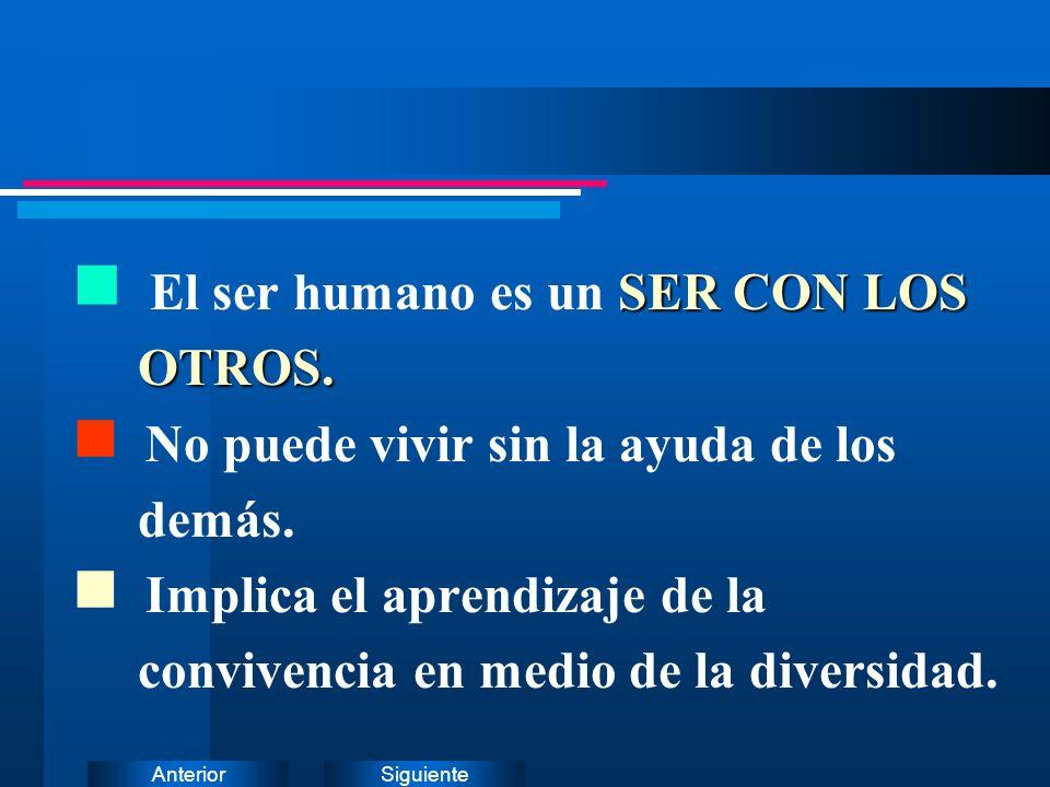 SiguienteAnterior SER CON LOS n El ser humano es un SER CON LOS OTROS. OTROS. n No puede vivir sin la ayuda de los demás. n Implica el aprendizaje de