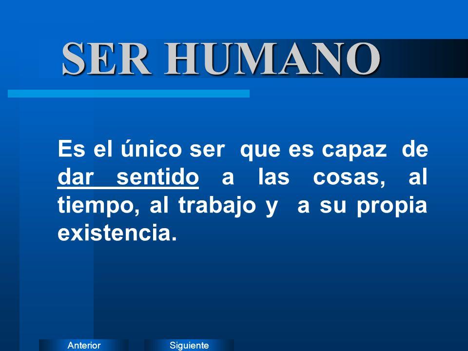 SiguienteAnterior SER HUMANO Es el único ser que es capaz de dar sentido a las cosas, al tiempo, al trabajo y a su propia existencia.