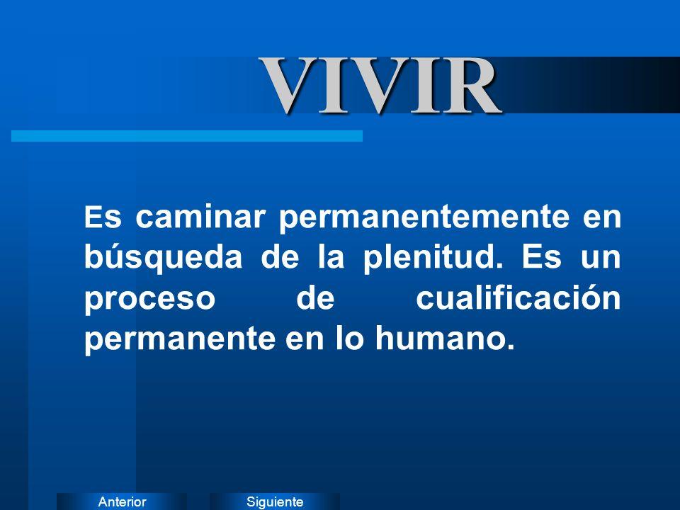 SiguienteAnteriorVIVIR E s caminar permanentemente en búsqueda de la plenitud. Es un proceso de cualificación permanente en lo humano.