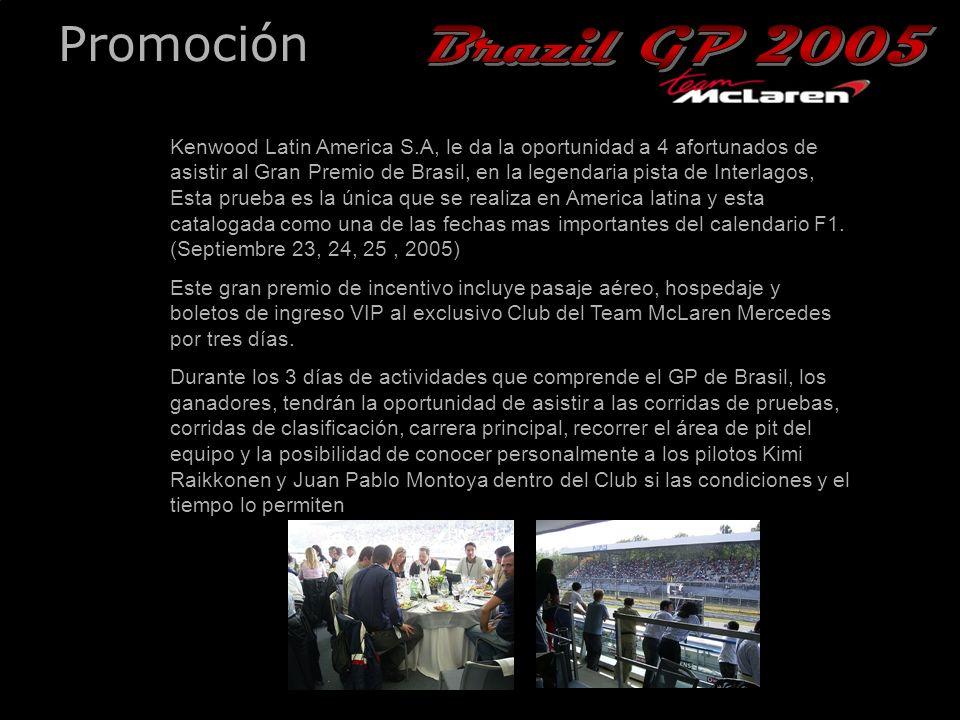 26th December, 2004 Promoción Kenwood Latin America S.A, le da la oportunidad a 4 afortunados de asistir al Gran Premio de Brasil, en la legendaria pista de Interlagos, Esta prueba es la única que se realiza en America latina y esta catalogada como una de las fechas mas importantes del calendario F1.
