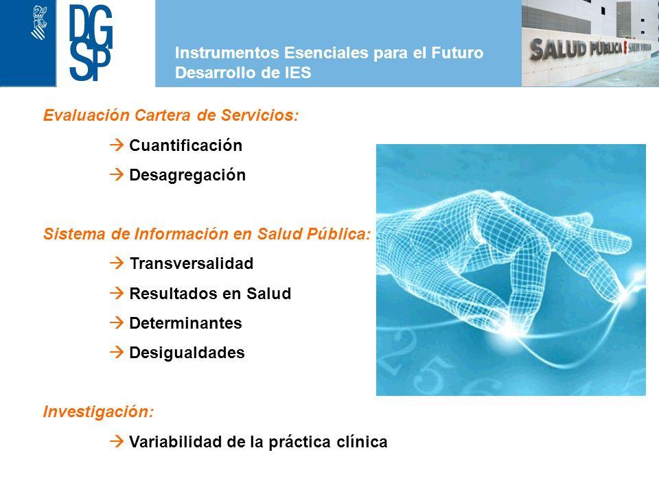 1 Instrumentos Esenciales para el Futuro Desarrollo de IES Evaluación Cartera de Servicios: Cuantificación Desagregación Sistema de Información en Salud Pública: Transversalidad Resultados en Salud Determinantes Desigualdades Investigación: Variabilidad de la práctica clínica