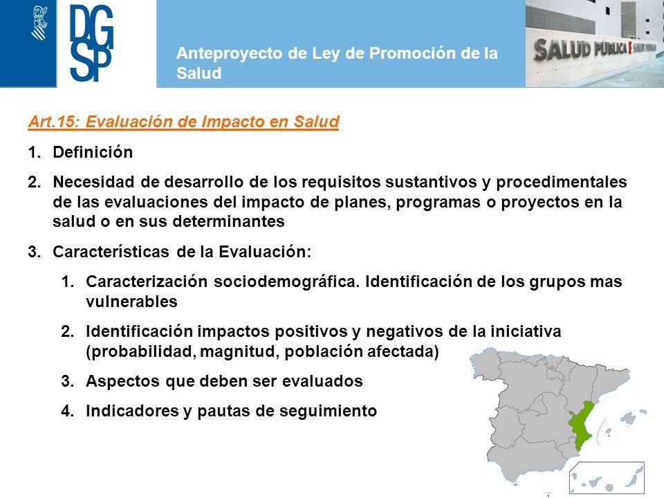 1 Elementos previstos en el Anteproyecto de Ley de Promoción de la Salud Artículo 6.