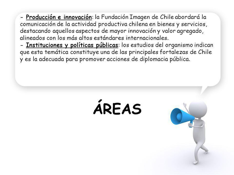- Producción e innovación: la Fundación Imagen de Chile abordará la comunicación de la actividad productiva chilena en bienes y servicios, destacando