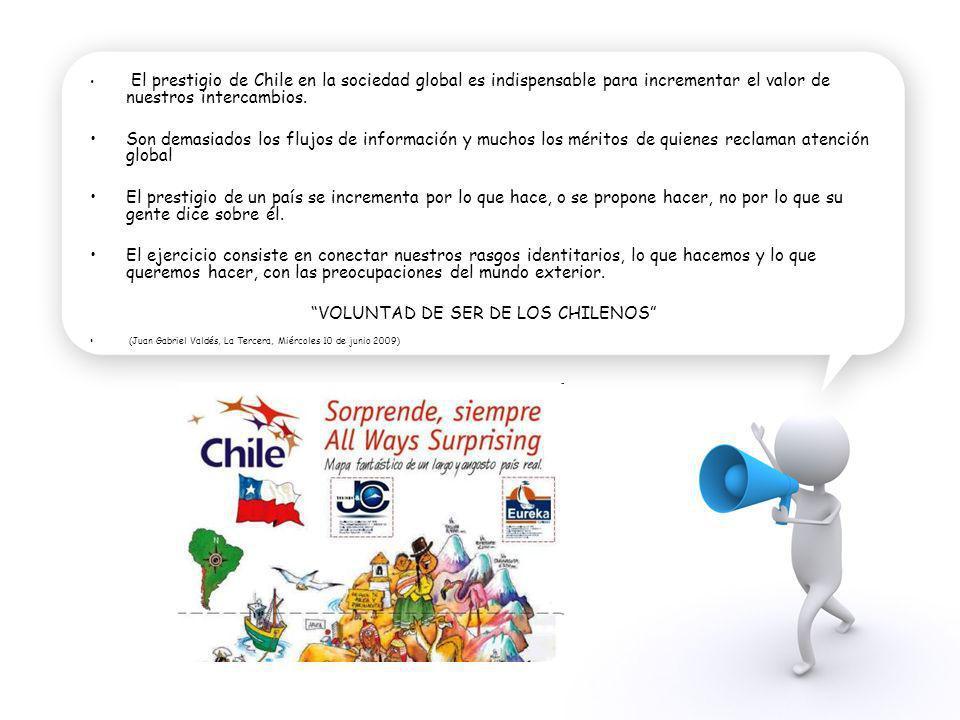 El prestigio de Chile en la sociedad global es indispensable para incrementar el valor de nuestros intercambios. Son demasiados los flujos de informac