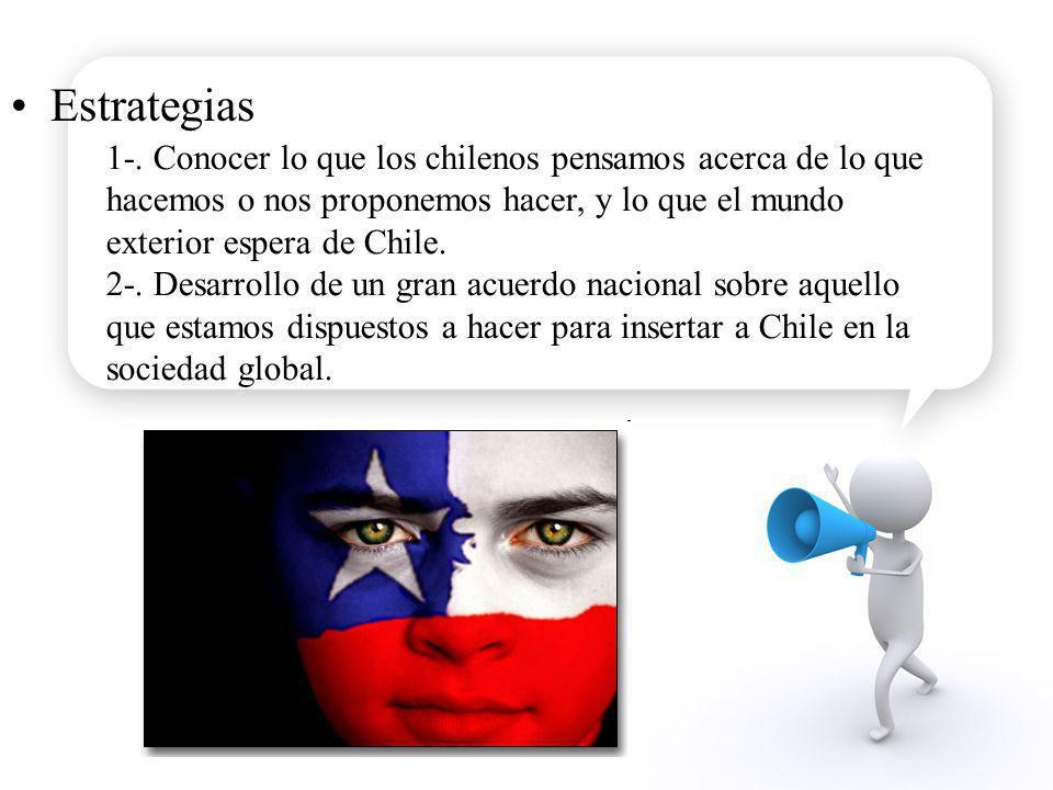 Estrategias 1-. Conocer lo que los chilenos pensamos acerca de lo que hacemos o nos proponemos hacer, y lo que el mundo exterior espera de Chile. 2-.