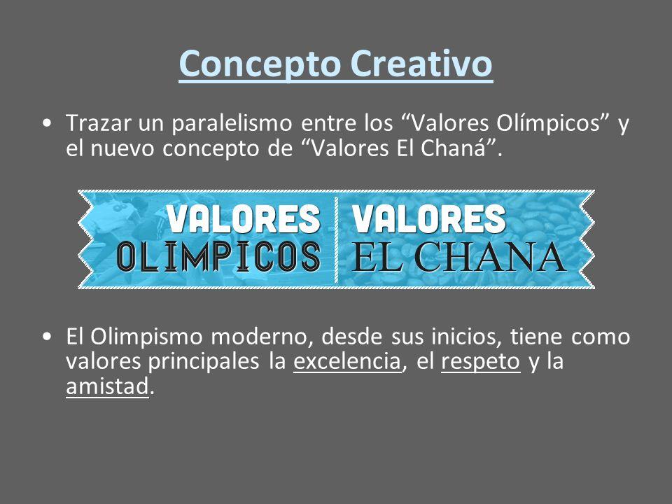 Concepto Creativo Trazar un paralelismo entre los Valores Olímpicos y el nuevo concepto de Valores El Chaná.