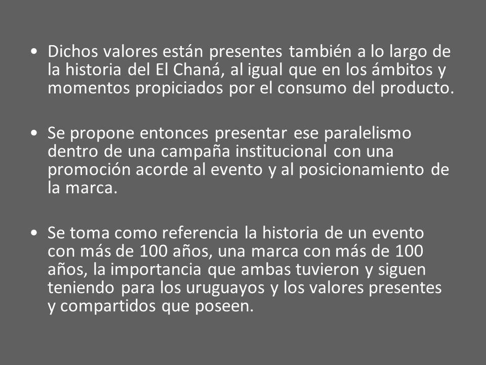 Dichos valores están presentes también a lo largo de la historia del El Chaná, al igual que en los ámbitos y momentos propiciados por el consumo del producto.
