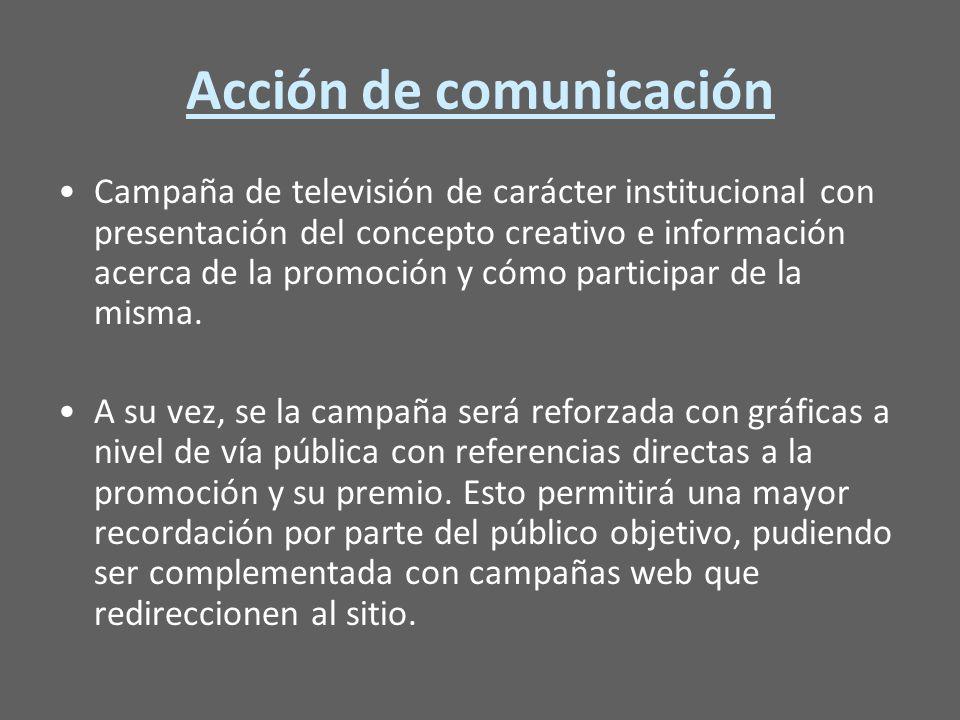 Acción de comunicación Campaña de televisión de carácter institucional con presentación del concepto creativo e información acerca de la promoción y cómo participar de la misma.