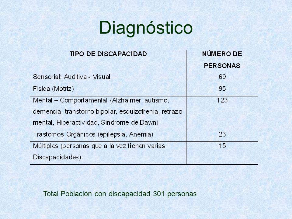Diagnóstico Total Población con discapacidad 301 personas