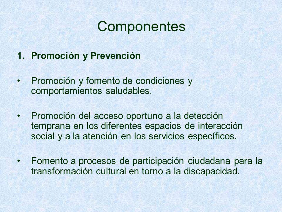 Componentes 1.Promoción y Prevención Promoción y fomento de condiciones y comportamientos saludables.