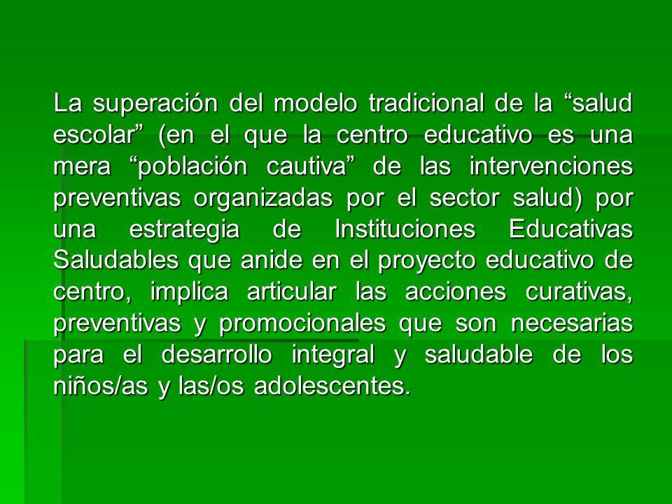 La superación del modelo tradicional de la salud escolar (en el que la centro educativo es una mera población cautiva de las intervenciones preventiva